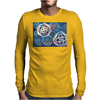 Decorative snowflakes, resembling gears, colorful with deep blue background Mens Long Sleeve T-Shirt