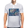 Decorative snowflakes, resembling gears, colorful with deep blue background Mens Polo