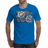 Decorative snowflakes, resembling gears, colorful with deep blue background Mens T-Shirt