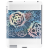 Decorative snowflakes, resembling gears, colorful with deep blue background Tablet