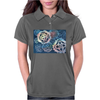 Decorative snowflakes, resembling gears, colorful with deep blue background Womens Polo