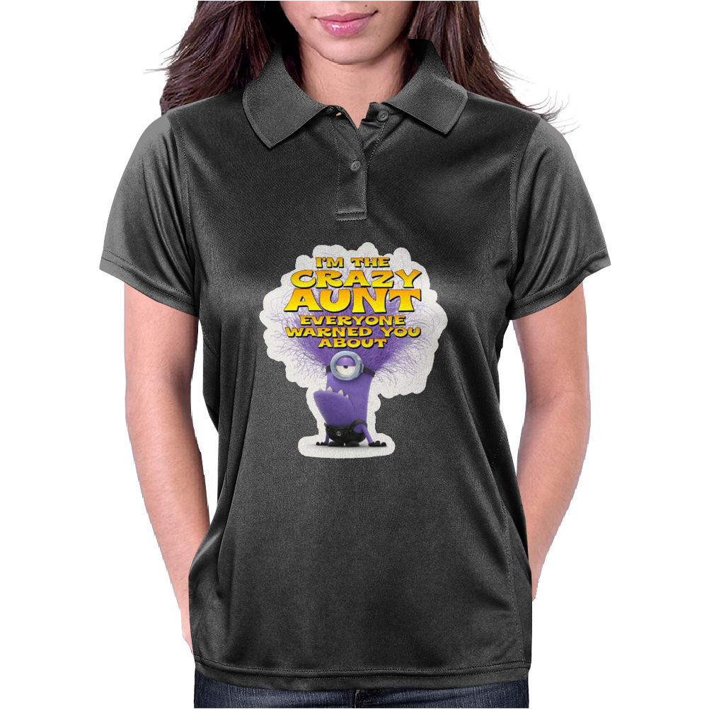 Despicable Me purple Minion Crazy Aunt funny Womens Polo
