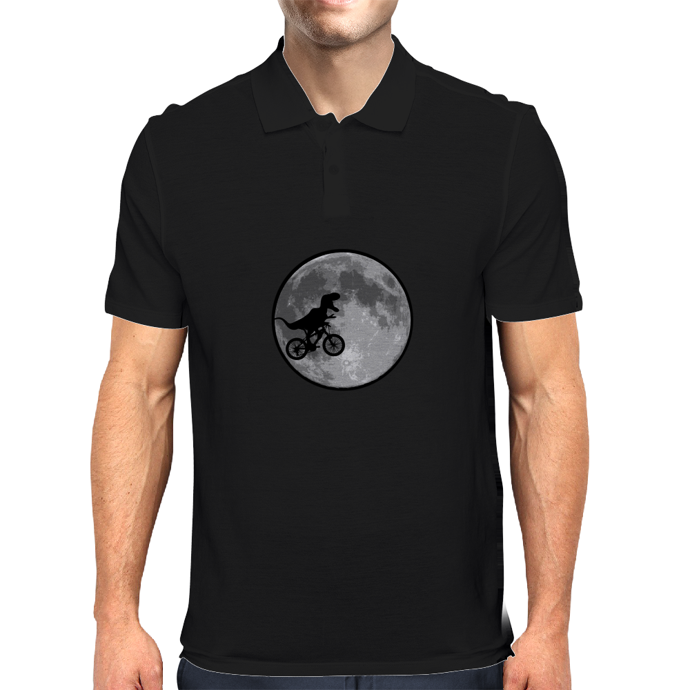 Dinosaur bike and moon Mens Polo