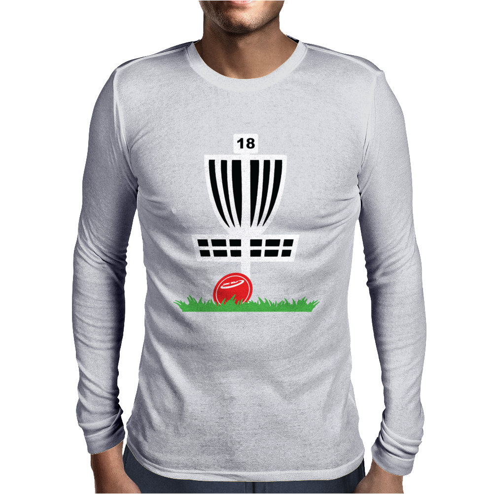 DISC GOLF FRISBEE LEANING ON TARGET BASKET INNOVA Mens Long Sleeve T-Shirt