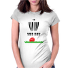 DISC GOLF FRISBEE LEANING ON TARGET BASKET INNOVA Womens Fitted T-Shirt