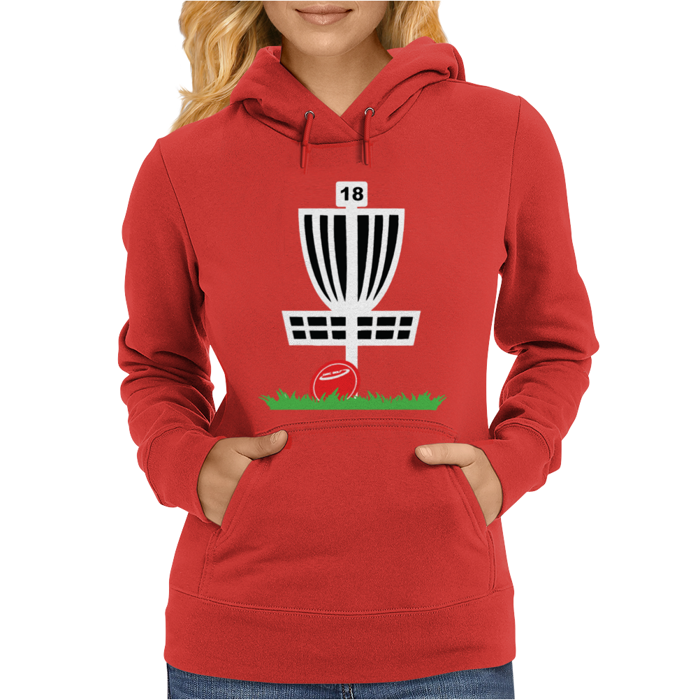 DISC GOLF FRISBEE LEANING ON TARGET BASKET INNOVA Womens Hoodie