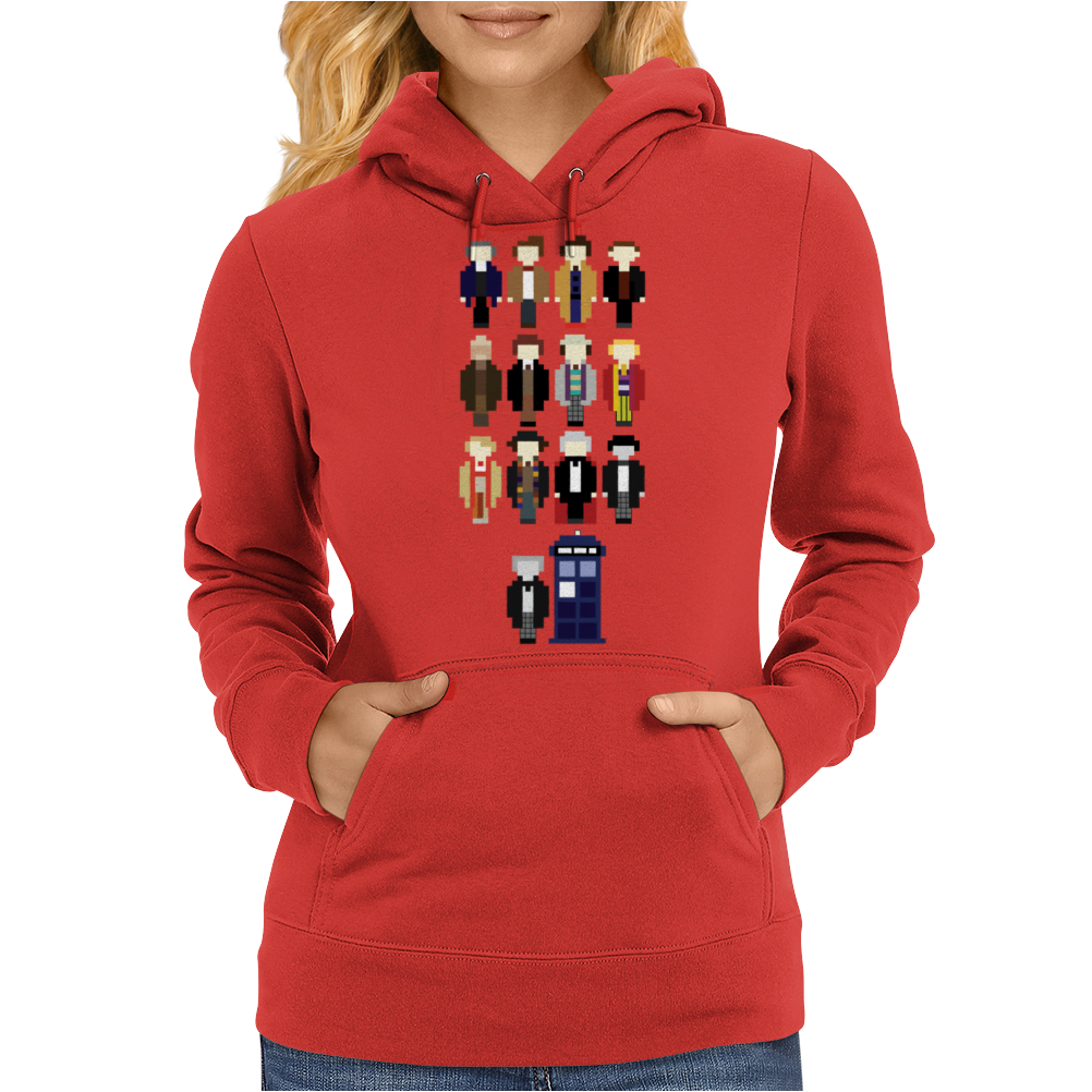 Doctor Who pixel regenerations Womens Hoodie