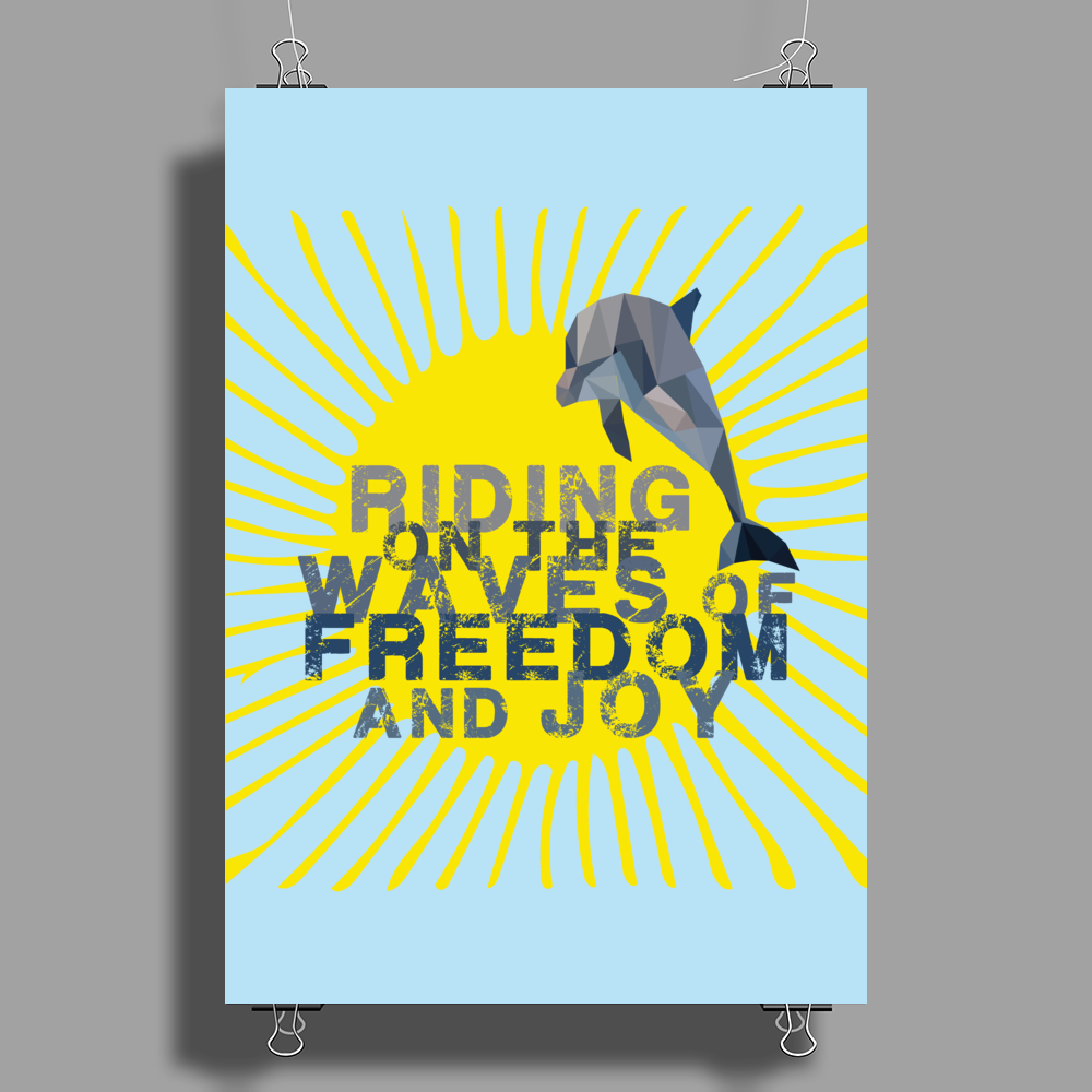 Dolphin riding the waves Poster Print (Portrait)
