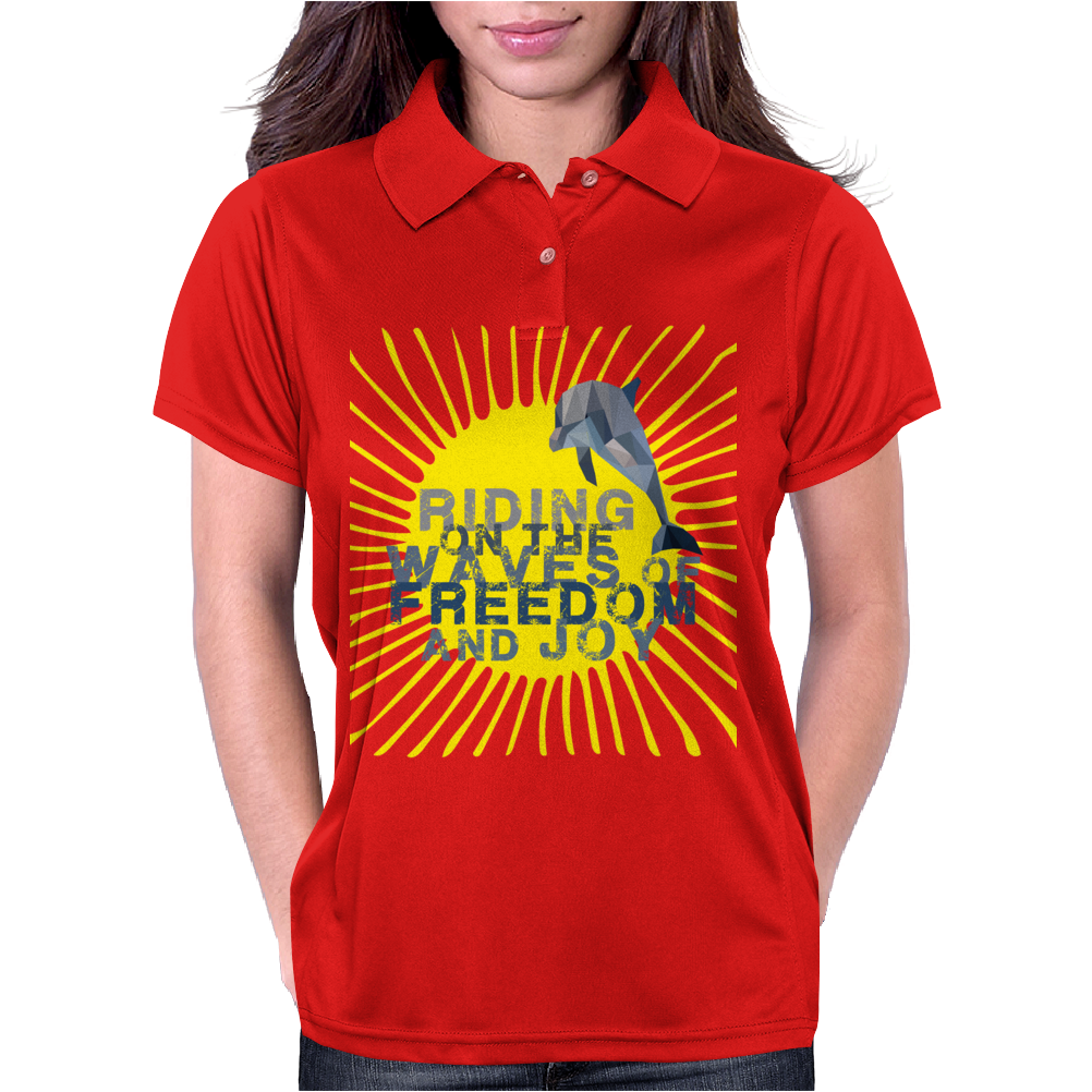 Dolphin riding the waves Womens Polo