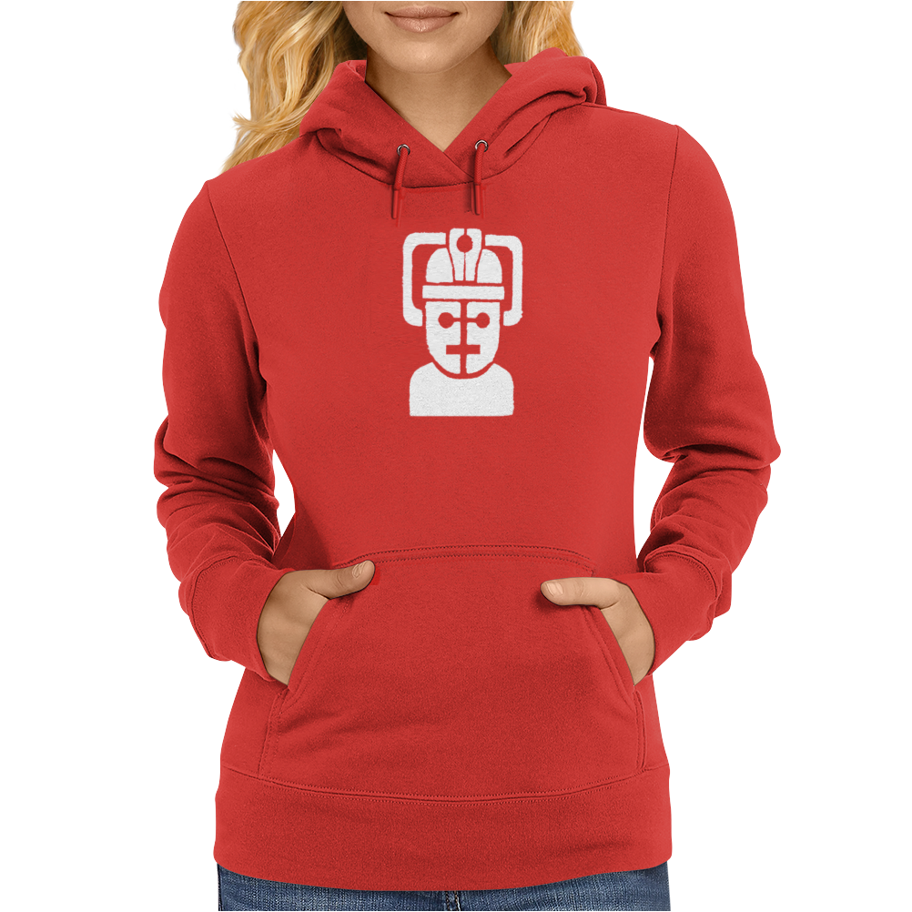 Dr Who cyberman robot (white) Womens Hoodie