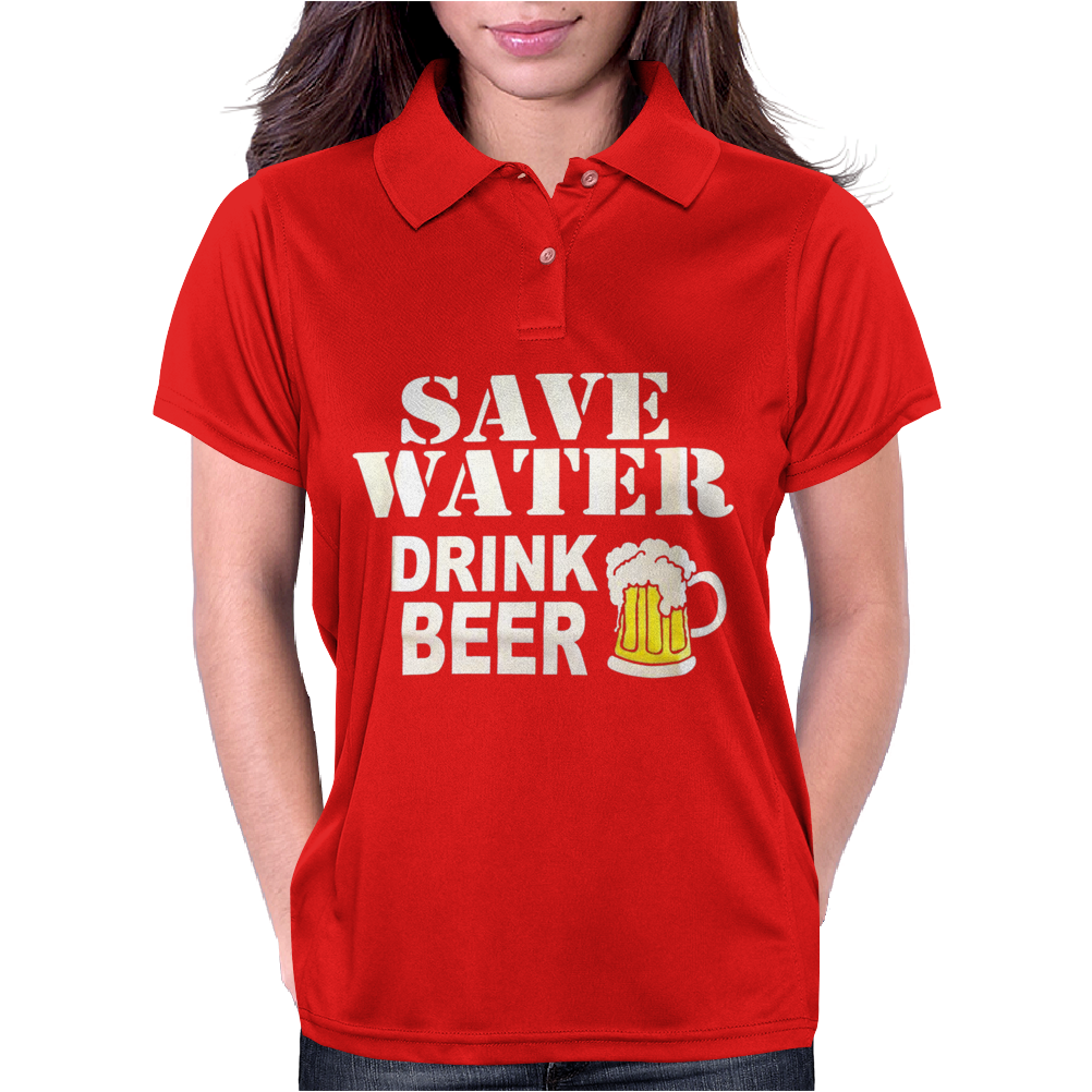 Drink water Beer Womens Polo