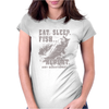 Eat Sleep Fish Repeat Womens Fitted T-Shirt