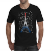 Eiffel tower in colors of France Flag - blue white red Mens T-Shirt