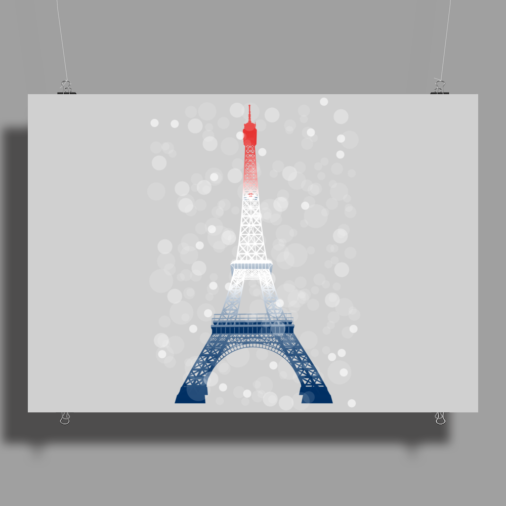 Eiffel tower in colors of France Flag - blue white red Poster Print (Landscape)