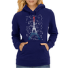 Eiffel tower in colors of France Flag - blue white red Womens Hoodie