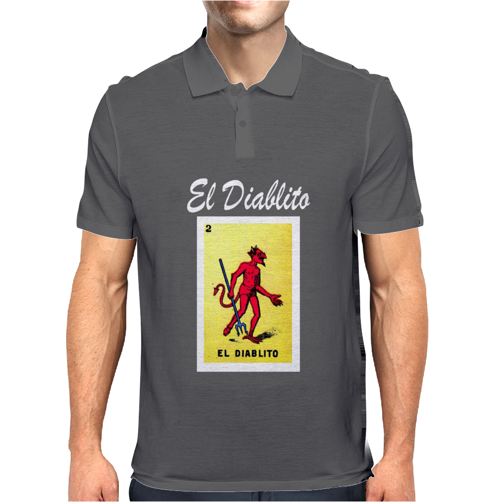 El Diablito The Devil Mexican Lottery Mens Polo