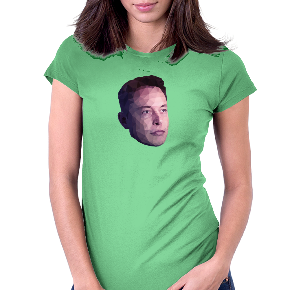 Elon Musk Low Poly Portrait Womens Fitted T-Shirt