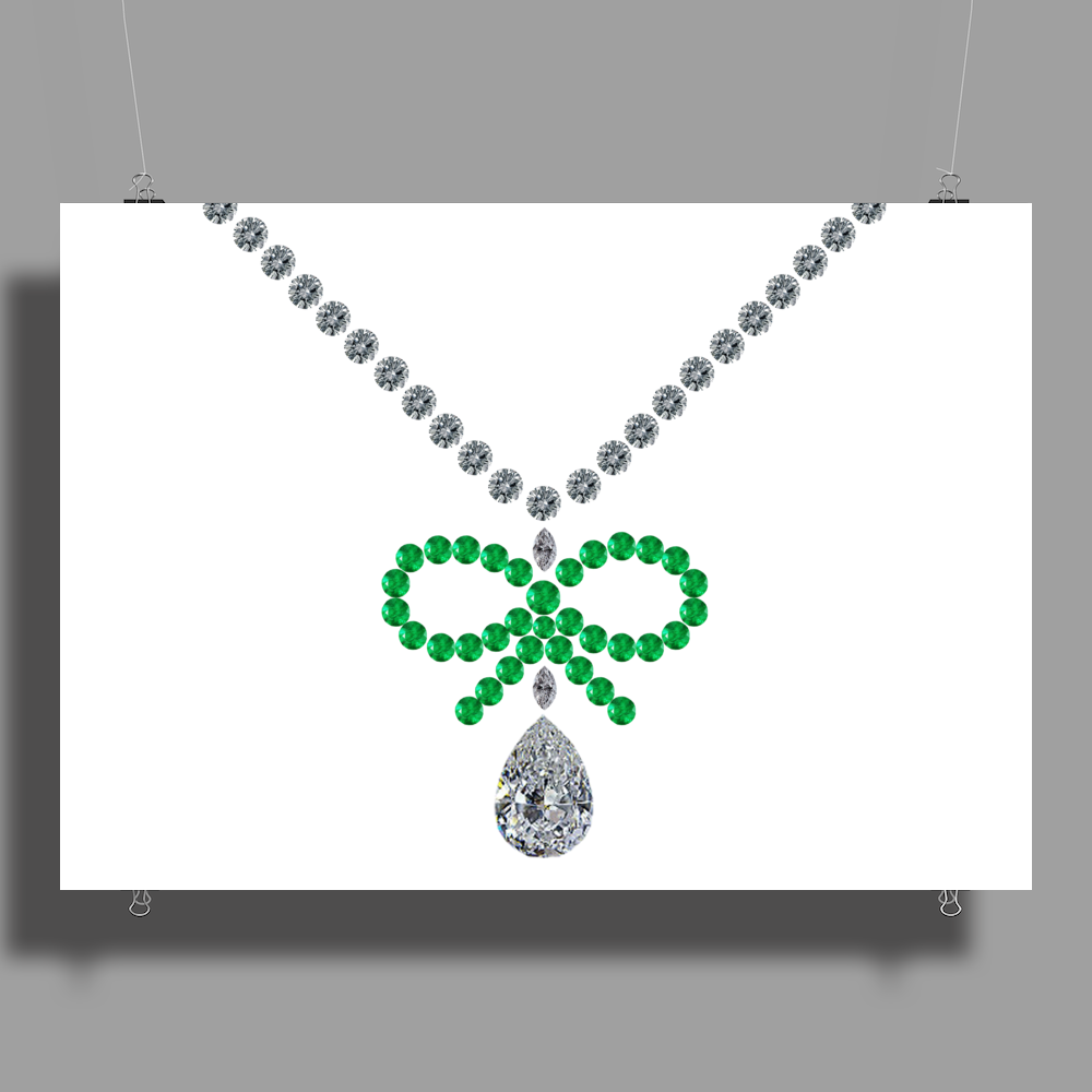 Emerald Bow and Diamonds Necklace Poster Print (Landscape)
