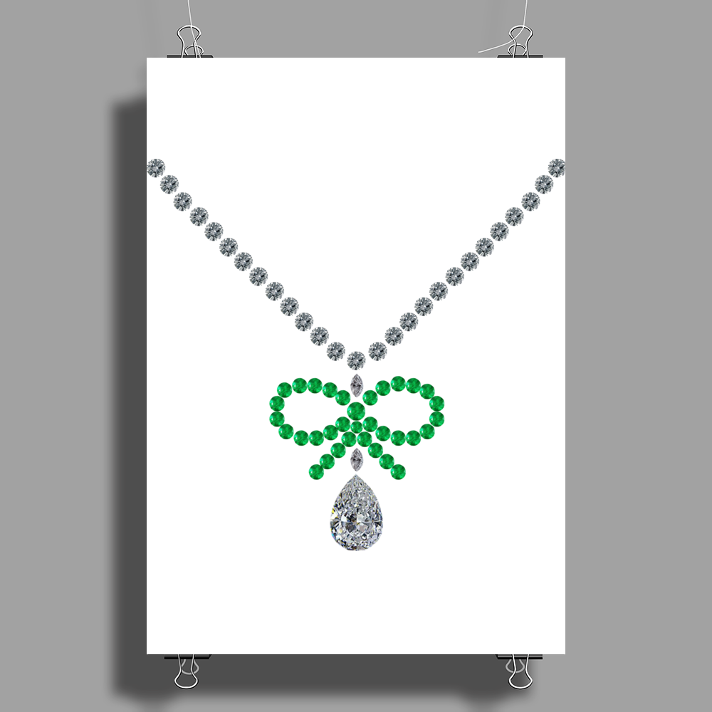 Emerald Bow and Diamonds Necklace Poster Print (Portrait)