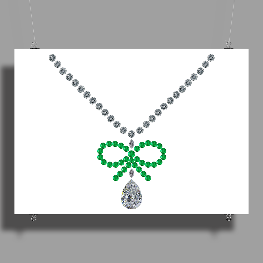 Emerald Bow Necklace Poster Print (Landscape)