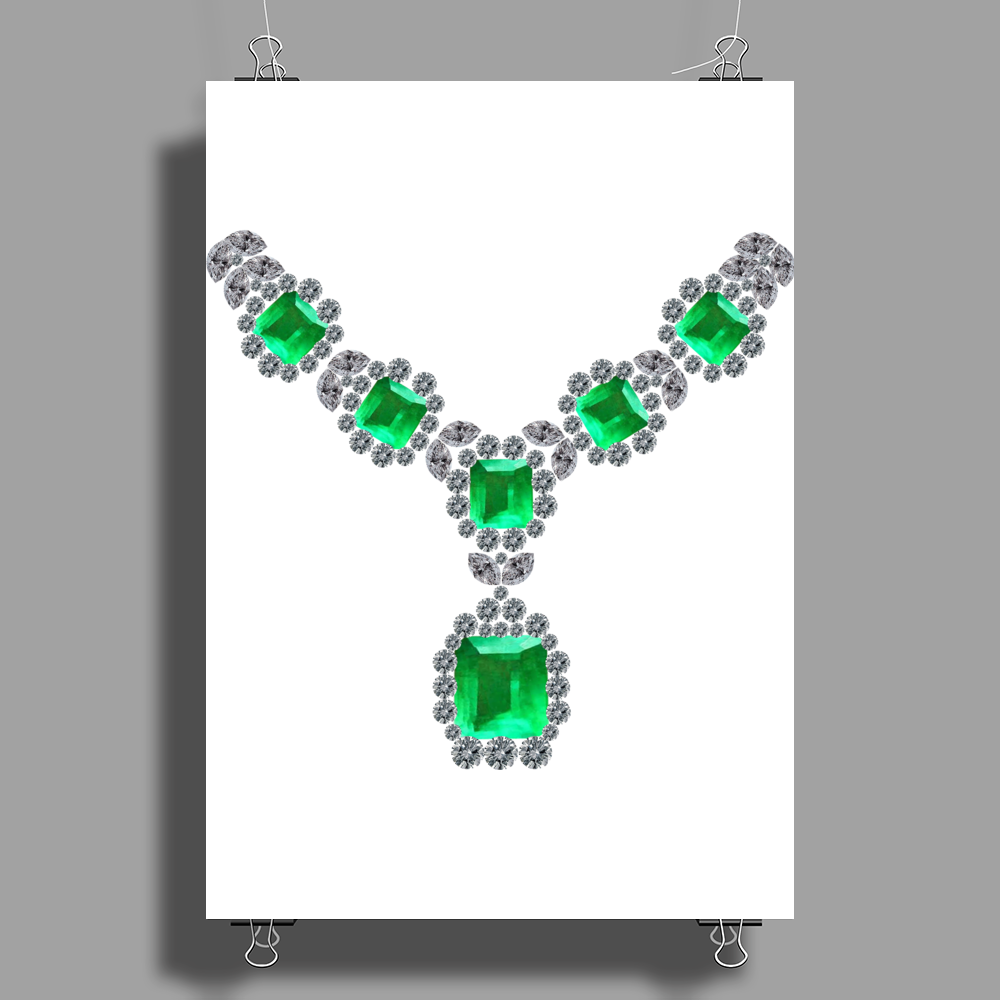 Emerald Diamond Necklace Poster Print (Portrait)