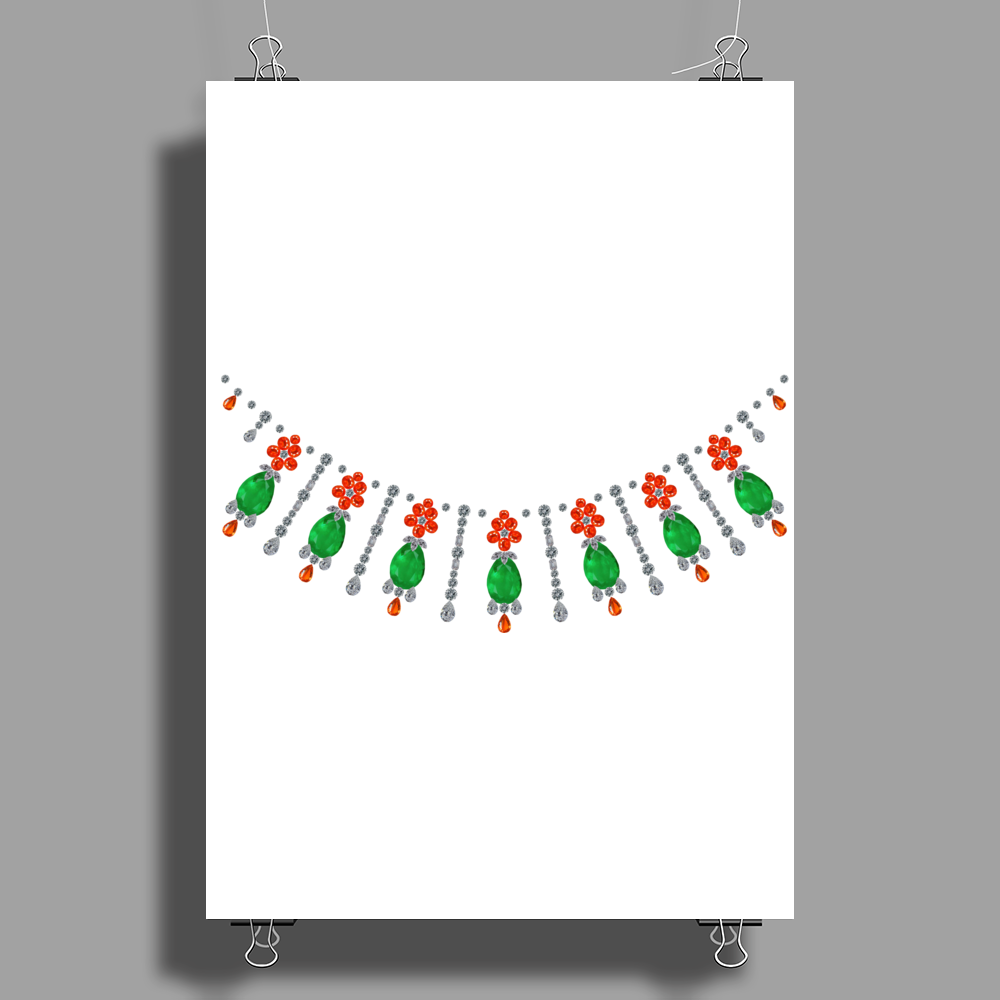 Emeralds and Orange Flowers Poster Print (Portrait)