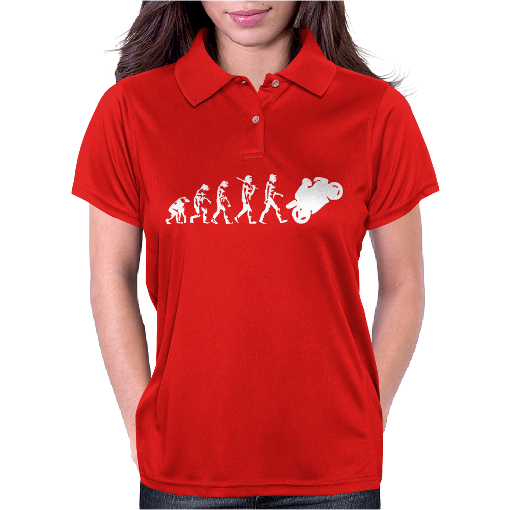 'Evolution Motorcycle' Funny Womens Polo