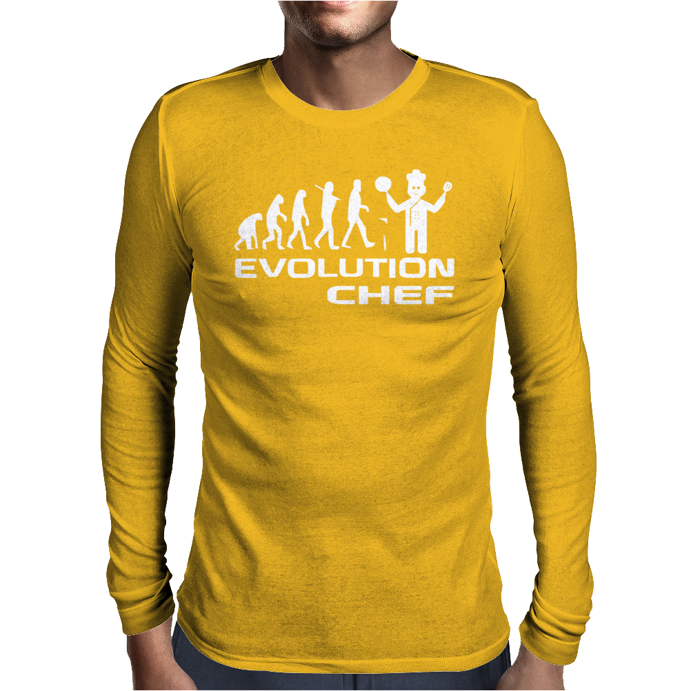 Evolution Of A Chef Cooking Funny Mens Mens Long Sleeve T-Shirt