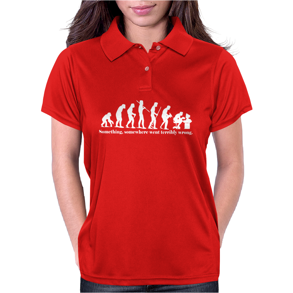 Evolution T-Shirt Something Somewhere Went Terribly Wrong funny Womens Polo