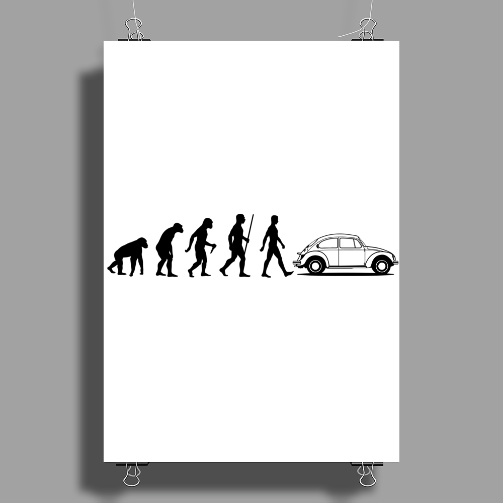 Evolution VW Beetle Poster Print (Portrait)