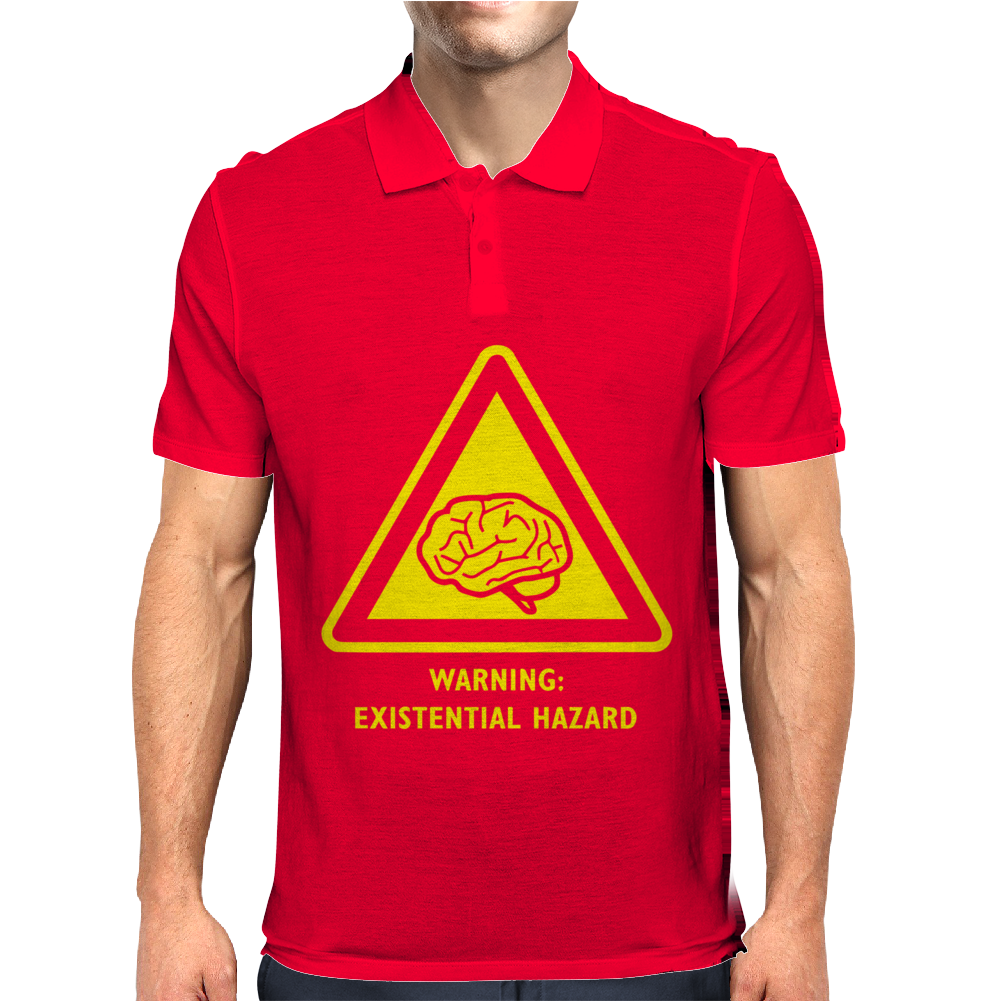 Existential Brain Hazard Warning Sign Mens Polo