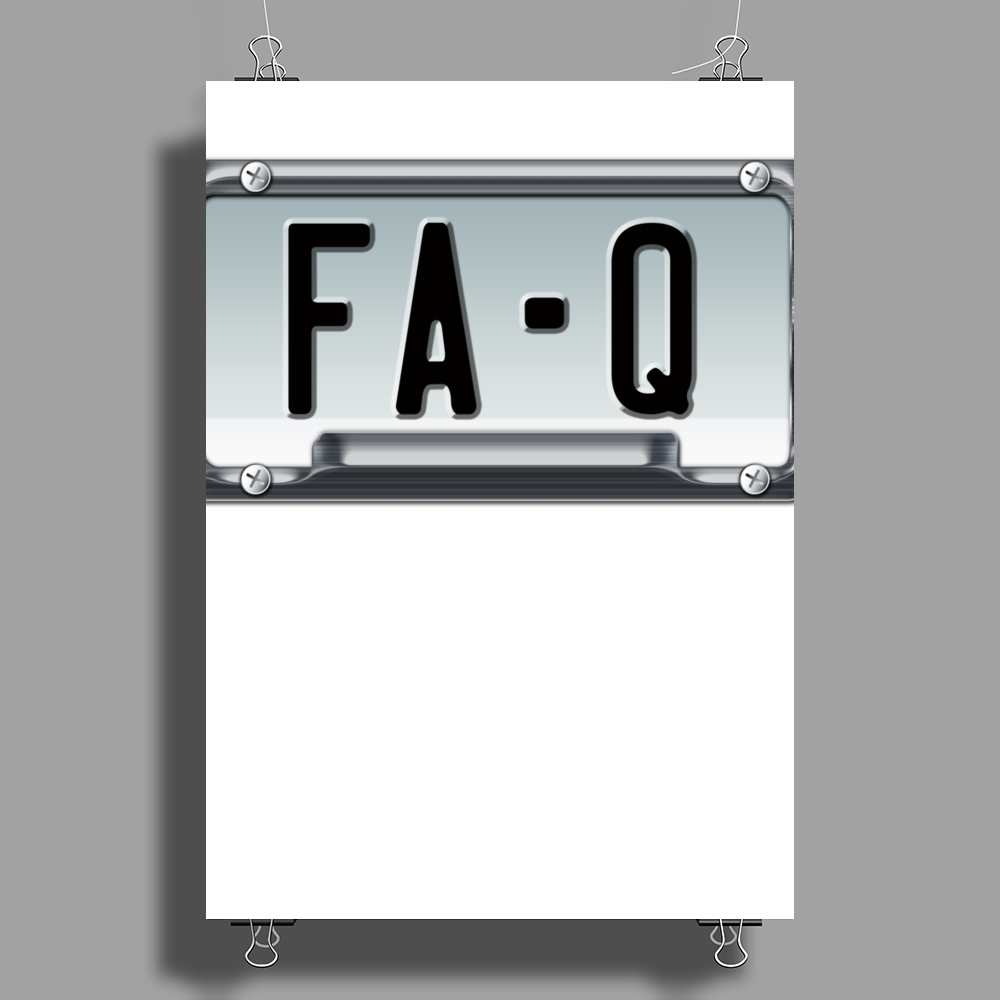 FA-Q LICENSE PLATE Poster Print (Portrait)