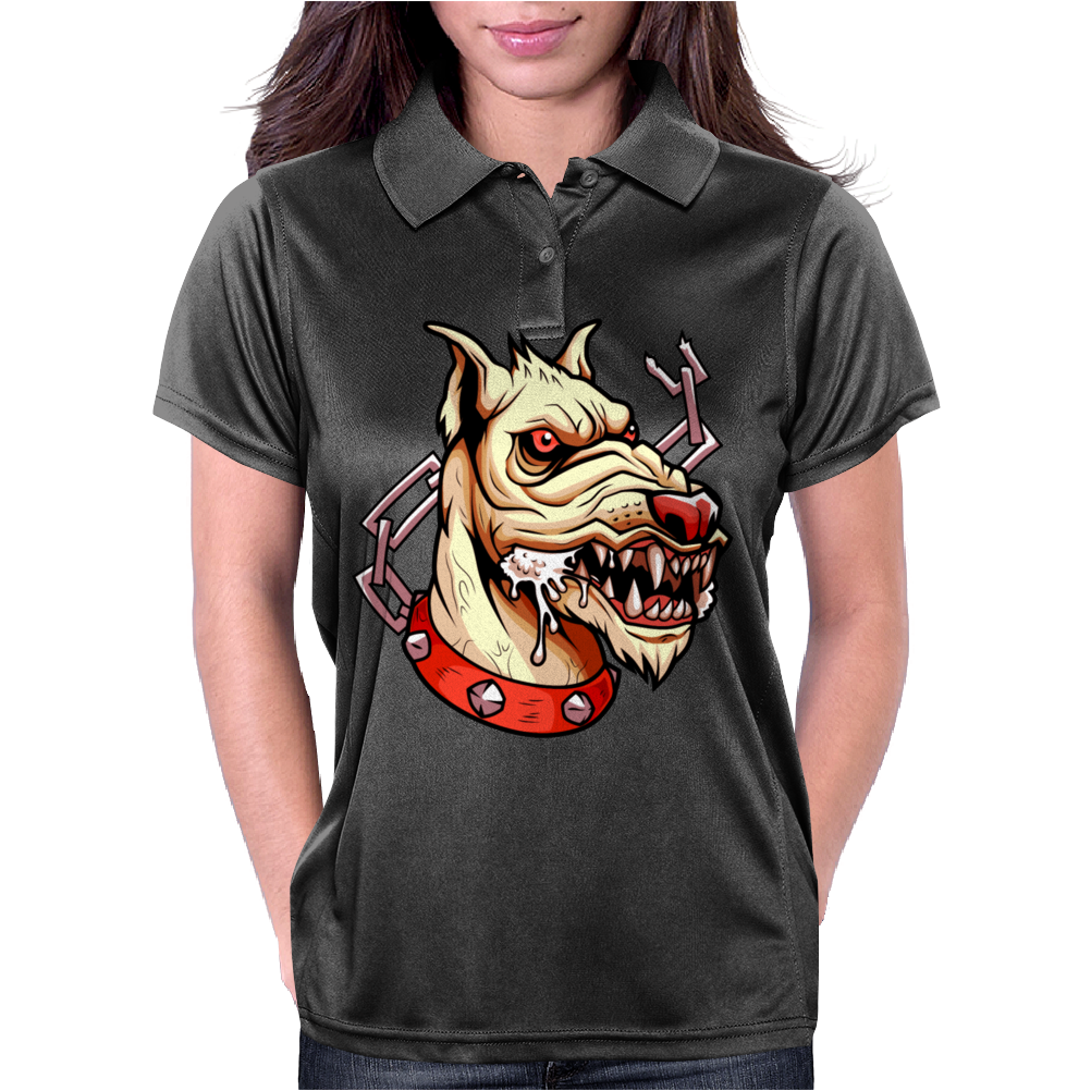 Face Mad Angry Dog Womens Polo