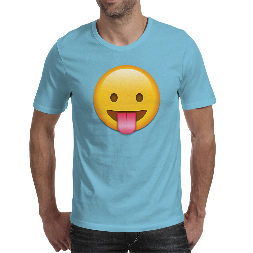 Face With Stuck-Out Tongue emoji Mens T-Shirt