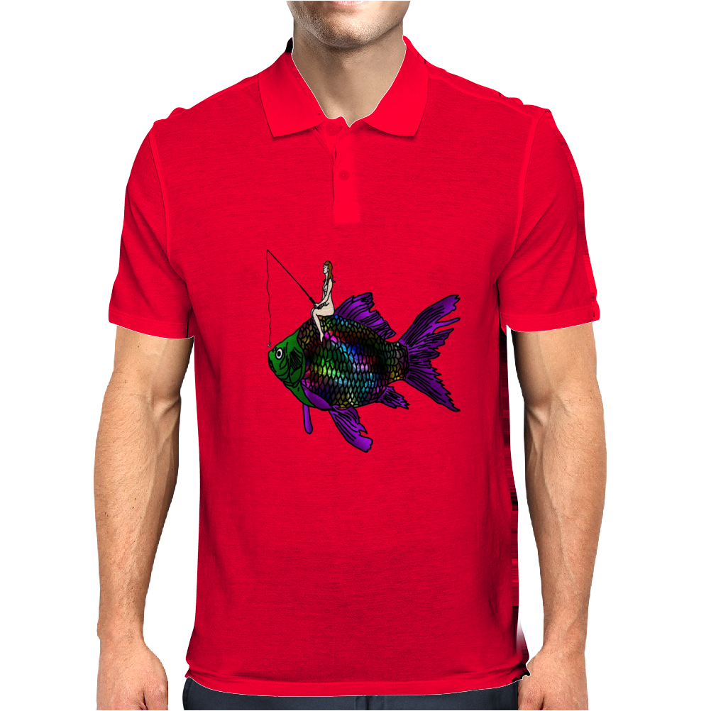 Faerie Fishing on a Fish Mens Polo
