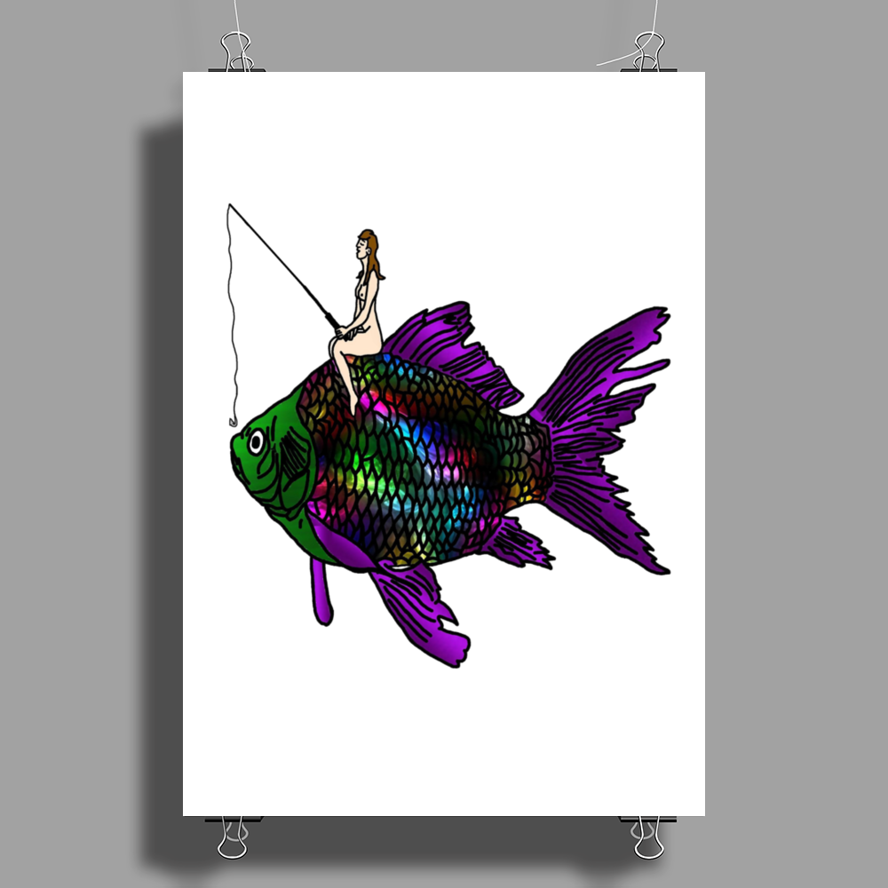 Faerie Fishing on a Fish Poster Print (Portrait)