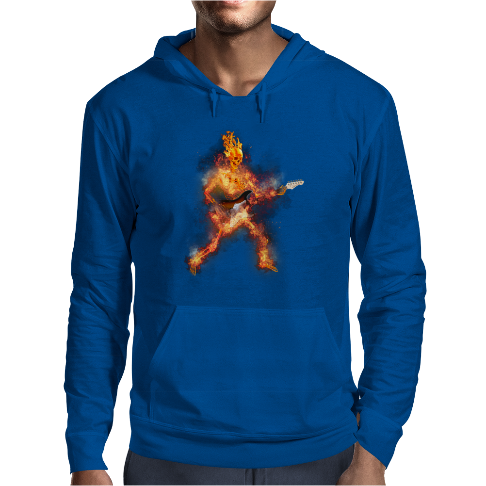 Fire Skeleton Guitarist Mens Hoodie