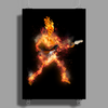Fire Skeleton Guitarist Poster Print (Portrait)