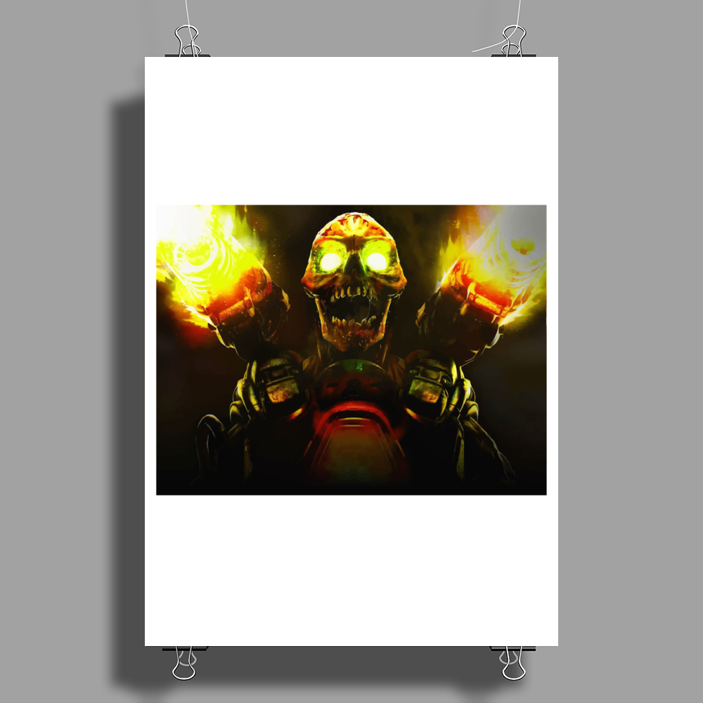 fire skeleton Poster Print (Portrait)