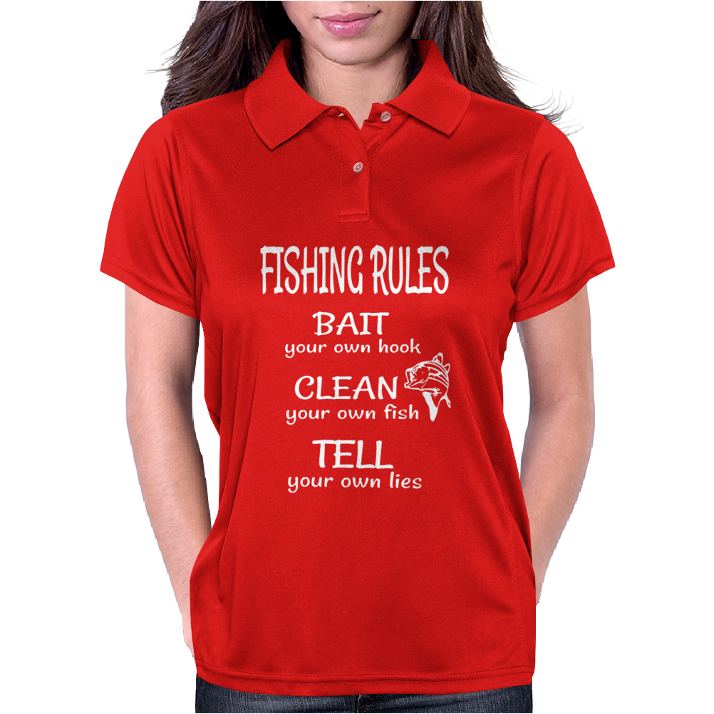 Fishing Rules Funny Womens Polo