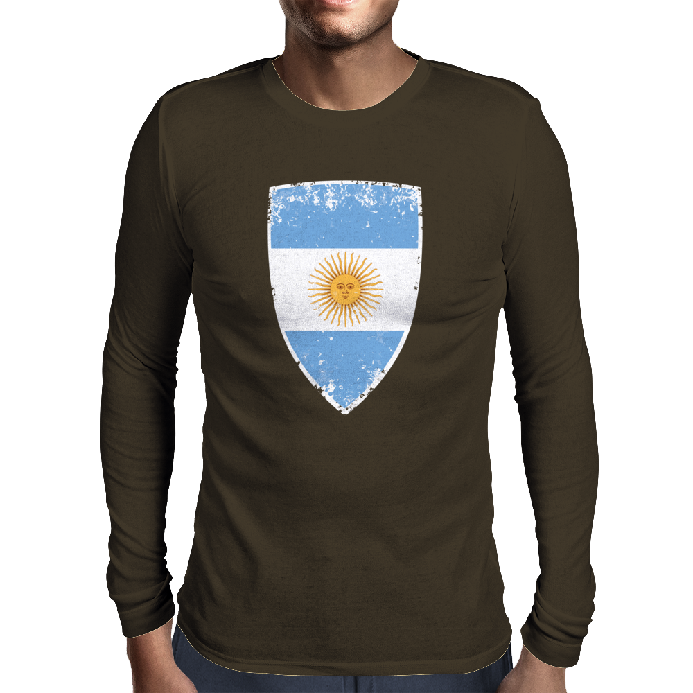 Flag of Argentina Mens Long Sleeve T-Shirt