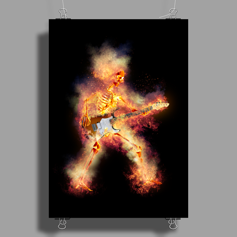 Flaming Guitartist Poster Print (Portrait)