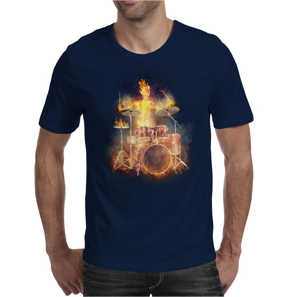 Flaming Skeleton Drummer Set 2 Mens T-Shirt