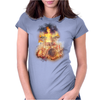 Flaming Skeleton Drummer Set 2 Womens Fitted T-Shirt