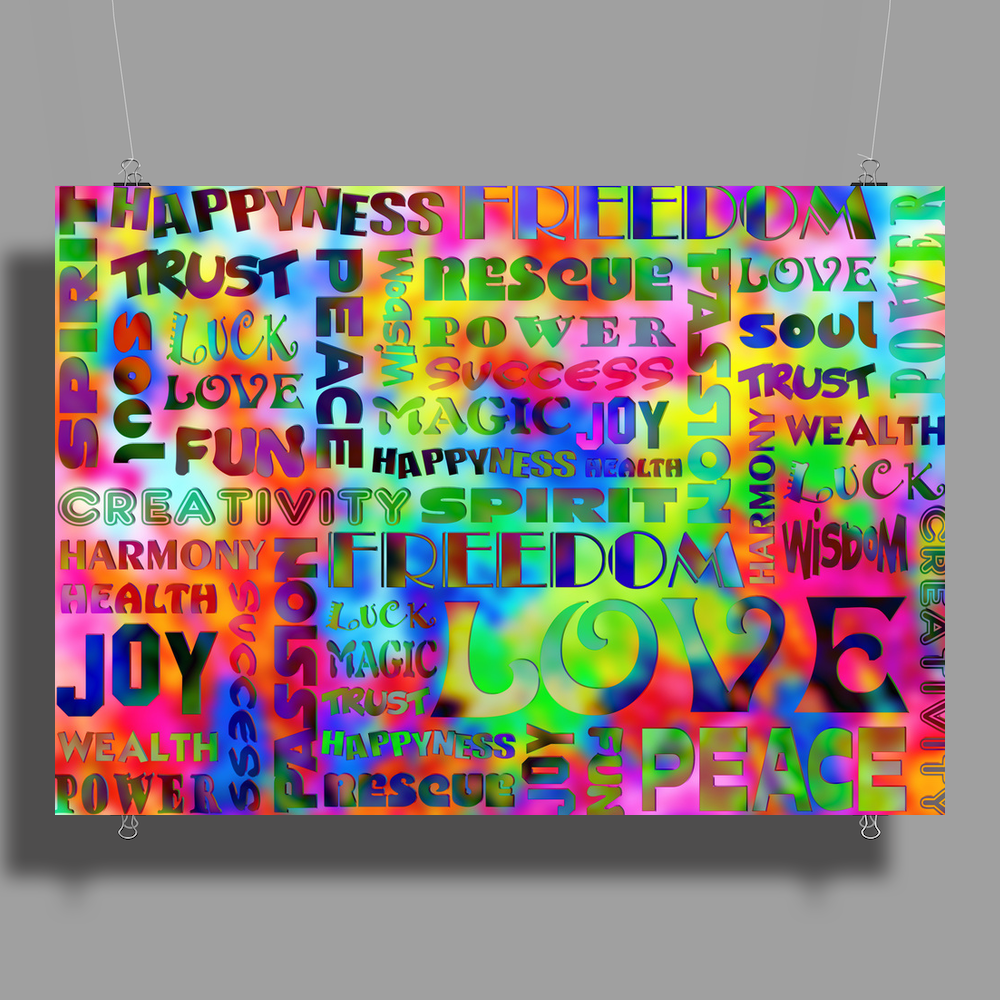 Flower Power Words Of Life Poster Print (Landscape)
