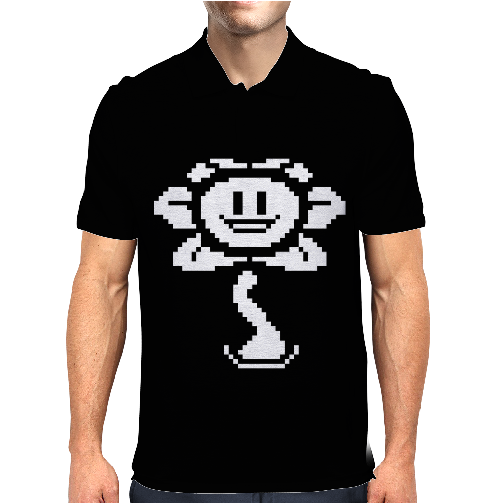 Flowey pixel Mens Polo