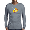 Flying sausage on a fork Mens Long Sleeve T-Shirt