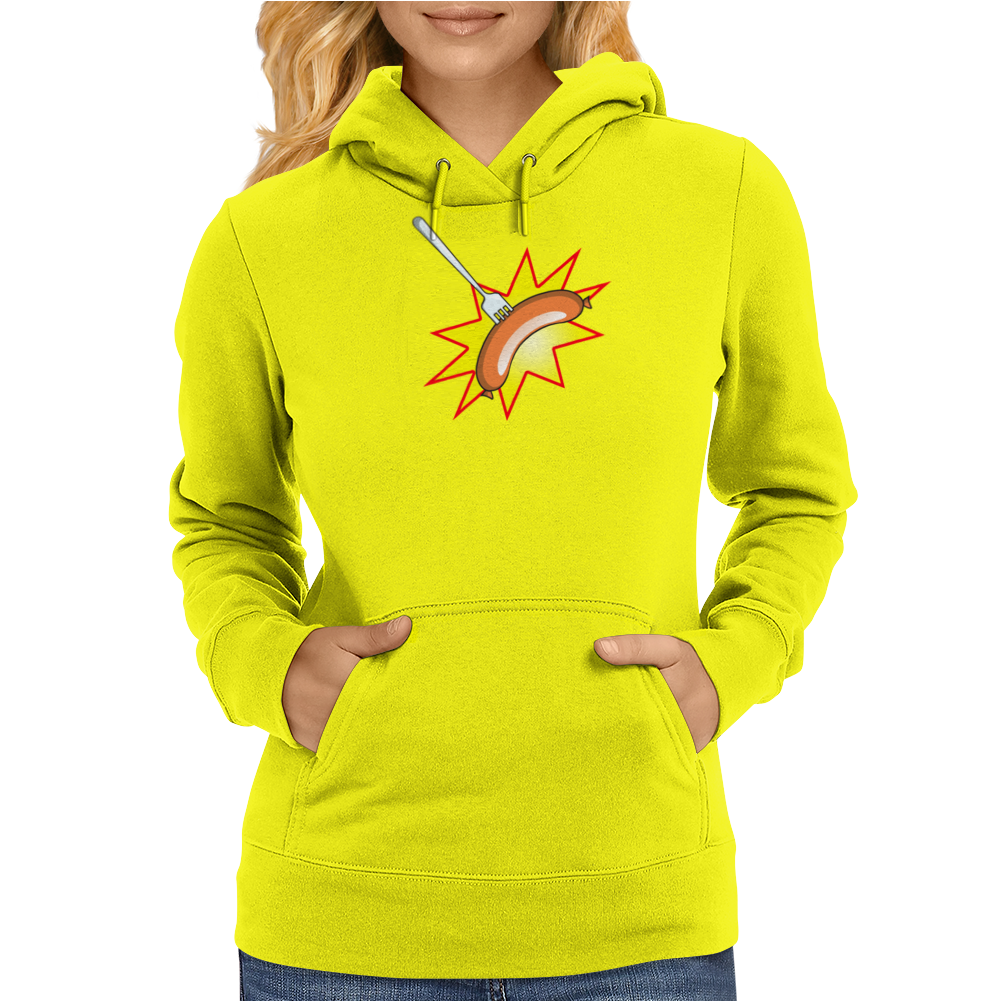 Flying sausage on a fork Womens Hoodie