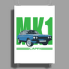 Ford Capri MK1 Classic Car Green/Blue Poster Print (Portrait)
