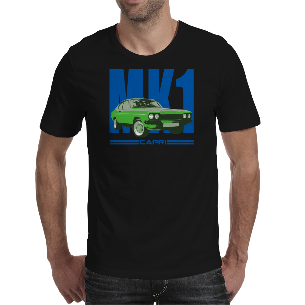 Ford Capri Retro Classic Car Blue/Green Mens T-Shirt